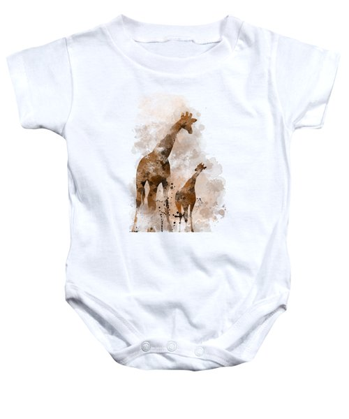 Giraffe And Baby Baby Onesie by Marlene Watson