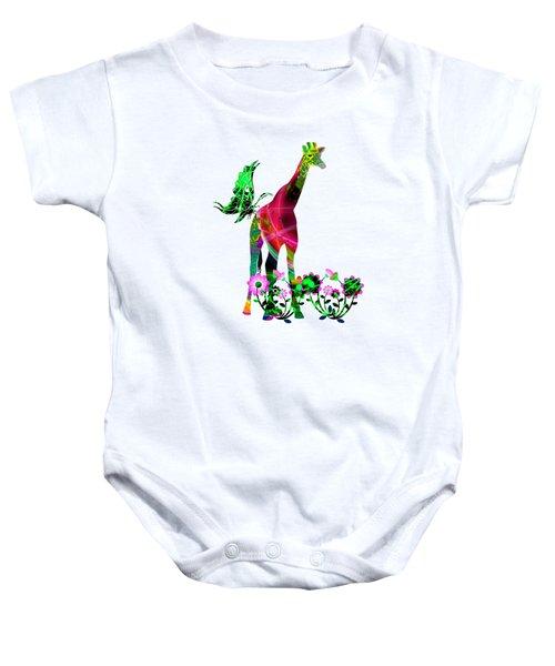 Giraffe And Flowers3 Baby Onesie