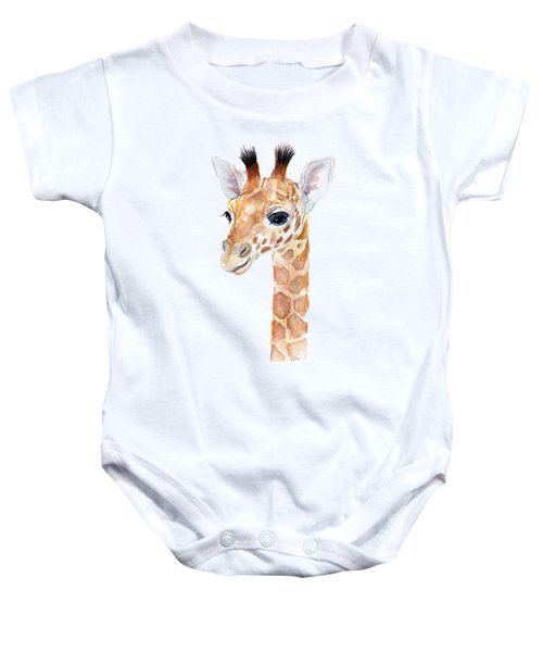 Giraffe Watercolor Baby Onesie by Olga Shvartsur