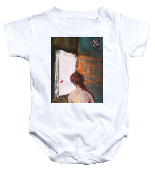 Baby Onesie featuring the painting Girl At The Window by Winsome Gunning