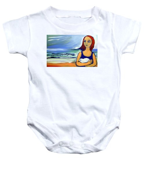 Baby Onesie featuring the painting Girl With Bird by Winsome Gunning