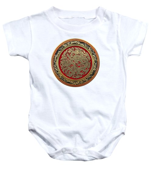 Golden Chinese Dragon White Leather  Baby Onesie by Serge Averbukh