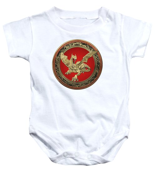 Golden Guardian Dragon Over White Leather Baby Onesie by Serge Averbukh