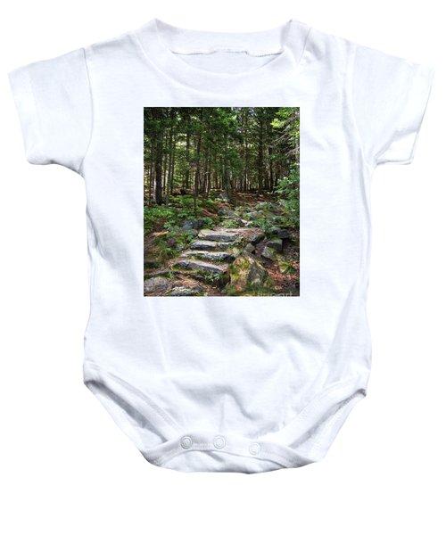 Granite Steps, Camden Hills State Park, Camden, Maine -43933 Baby Onesie