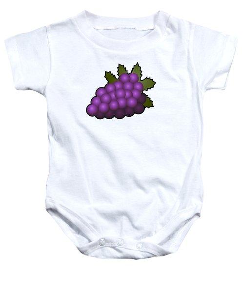 Grapes Fruit Outlined Baby Onesie by Miroslav Nemecek