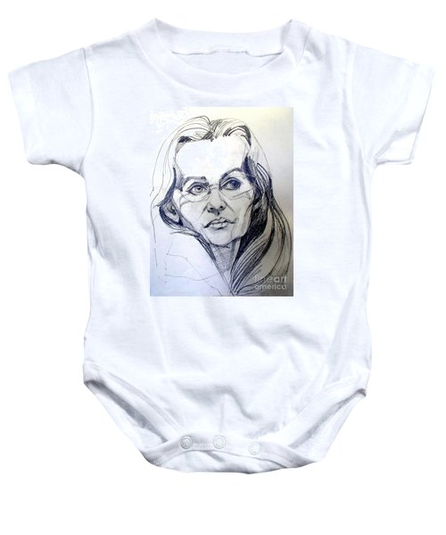 Graphite Portrait Sketch Of A Woman With Glasses Baby Onesie