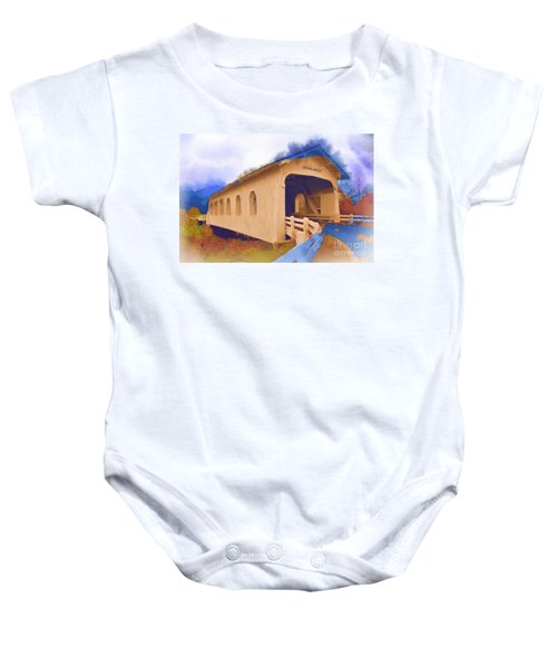 Grave Creek Covered Bridge In Watercolor Baby Onesie