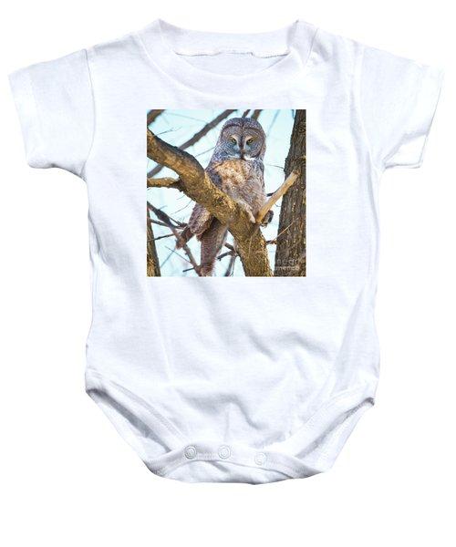Great Gray Owl Baby Onesie by Ricky L Jones