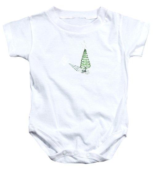 Green Bead Christmas Tree II Baby Onesie