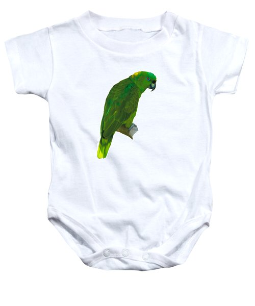 Green Parrot On White  Baby Onesie