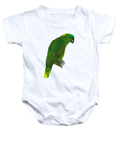 Green Parrot On White  Baby Onesie