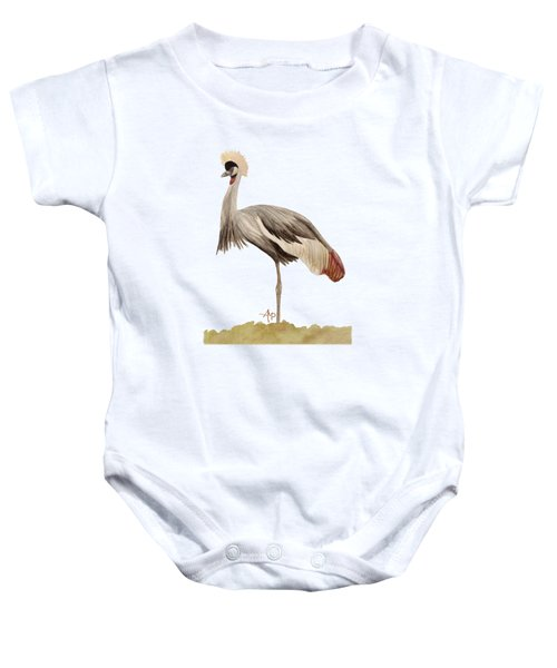 Grey Crowned Crane Baby Onesie by Angeles M Pomata