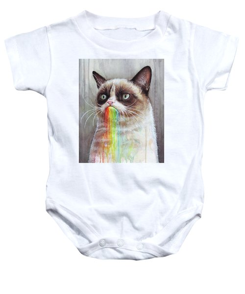 Grumpy Cat Tastes The Rainbow Baby Onesie