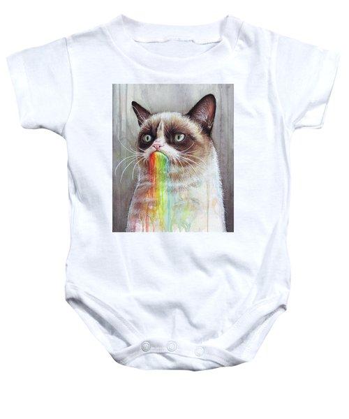 Grumpy Cat Tastes The Rainbow Baby Onesie
