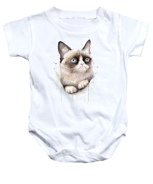 Grumpy Cat Watercolor Baby Onesie by Olga Shvartsur