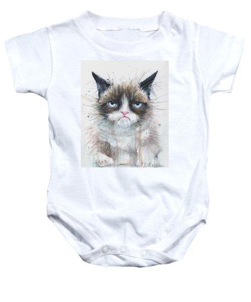 Grumpy Cat Watercolor Painting  Baby Onesie by Olga Shvartsur