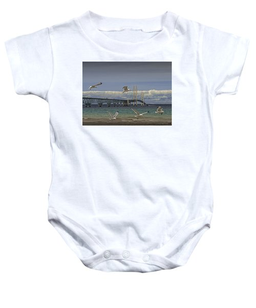 Gulls Flying By The Bridge At The Straits Of Mackinac Baby Onesie