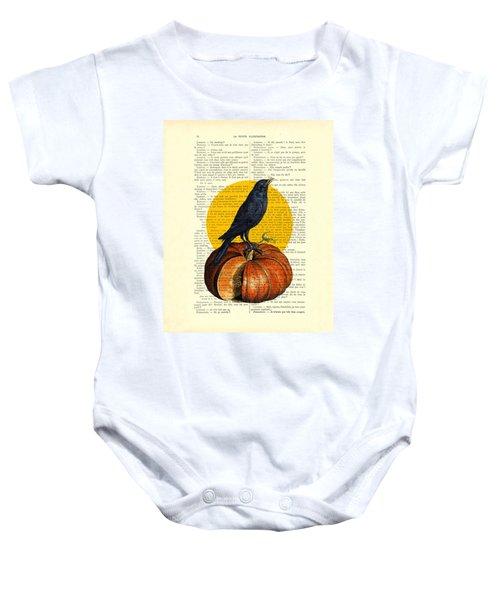Halloween Pumpkin And Crow Decoration Baby Onesie