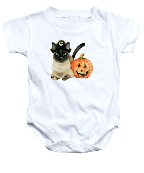 Halloween Siamese Cat With Jack O' Lantern Baby Onesie