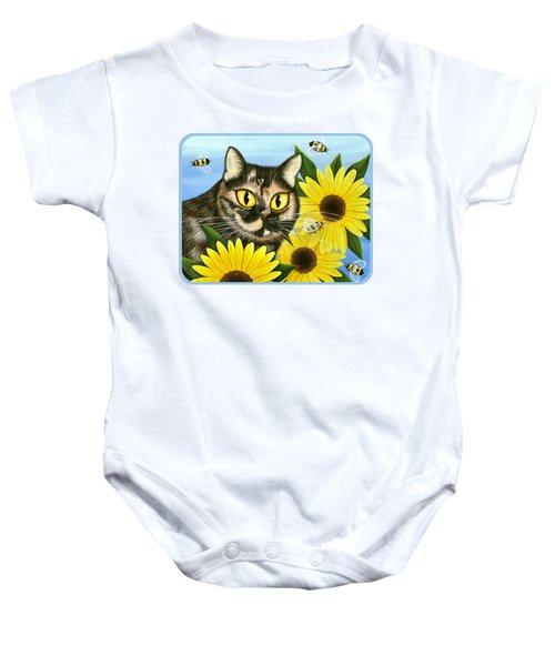 Hannah Tortoiseshell Cat Sunflowers Baby Onesie