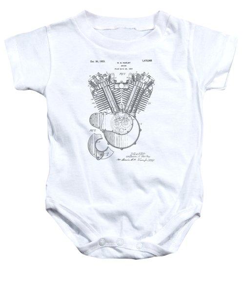 Harley Engine Patent Drawing Baby Onesie