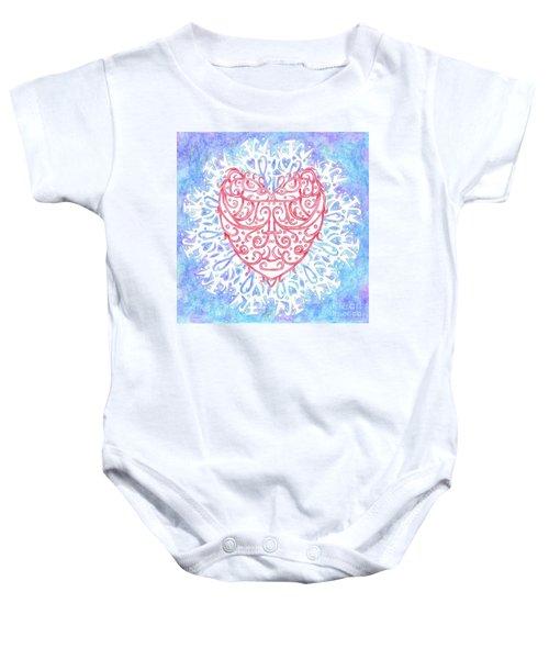Heart In A Snowflake II Baby Onesie
