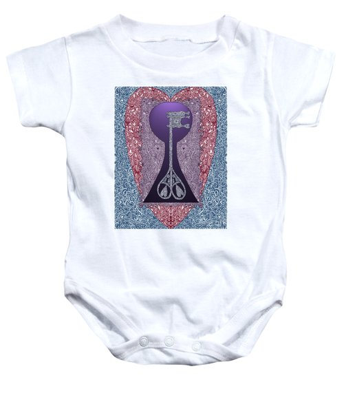 Heart With Lock And Skeleton Key Baby Onesie