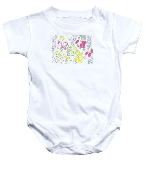 Heather And Gorse Watercolor Illustration Pattern Baby Onesie