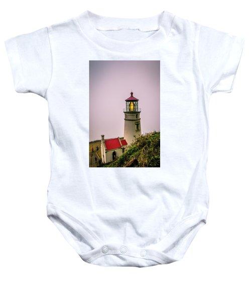Heceta Head Lighthouse In The Fog Baby Onesie