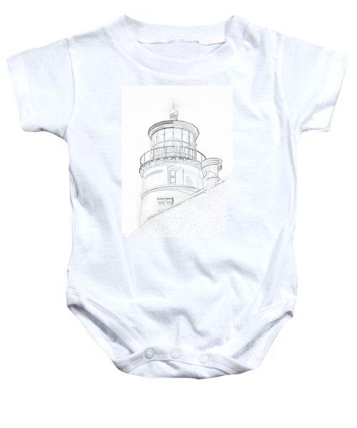 Hecitia Head Lighthouse Sketch Baby Onesie