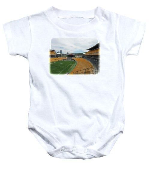 Heinz Stadium With Pittsburgh Skyline Baby Onesie