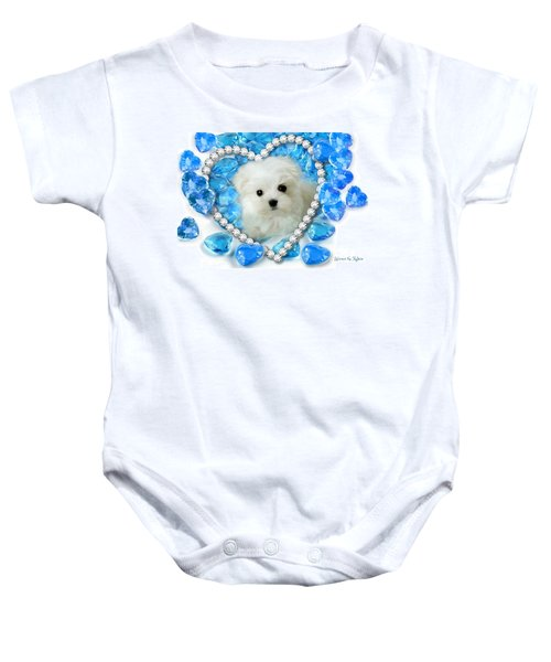 Baby Onesie featuring the mixed media Hermes The Maltese And Blue Hearts by Morag Bates