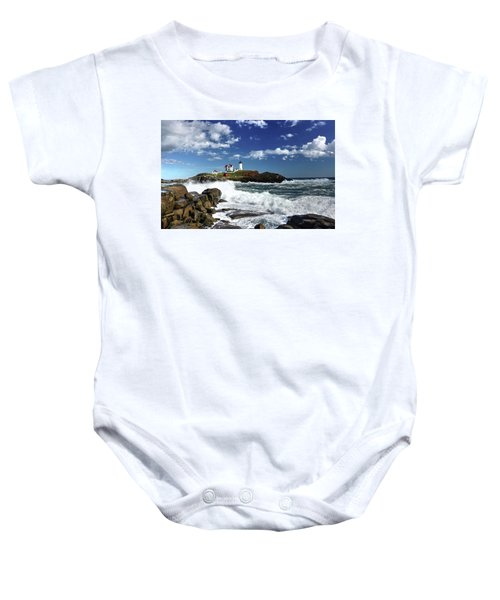 High Surf At Nubble Light Baby Onesie
