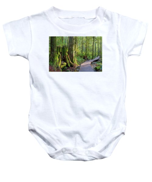 Hiking Trail Through Forest In Lynn Canyon Park Baby Onesie