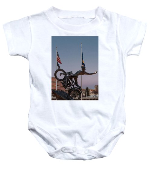 Baby Onesie featuring the photograph Hill Climber Catches The Moon by Randy Scherkenbach