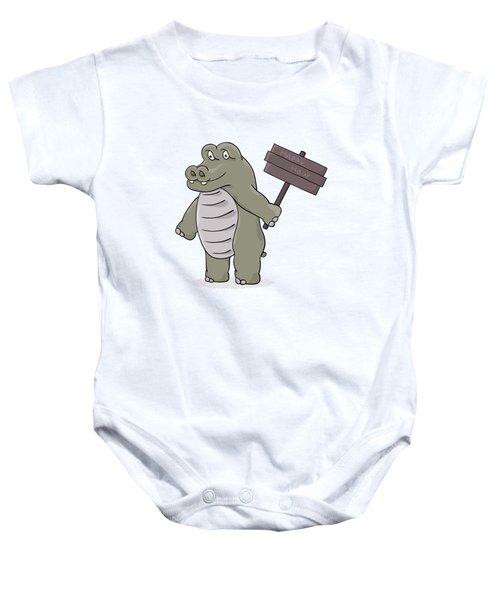 Hippopotamus With Happy Hour Sign Baby Onesie