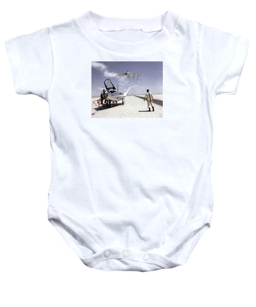 Hl-10 On Lakebed With B-52 Flyby Baby Onesie