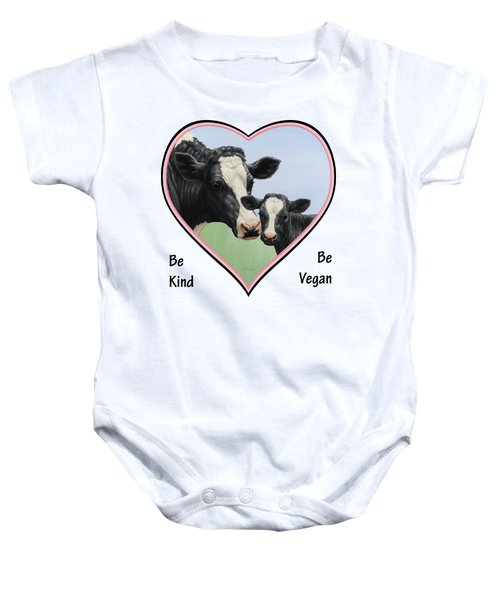 Holstein Cow And Calf Pink Heart Vegan Baby Onesie