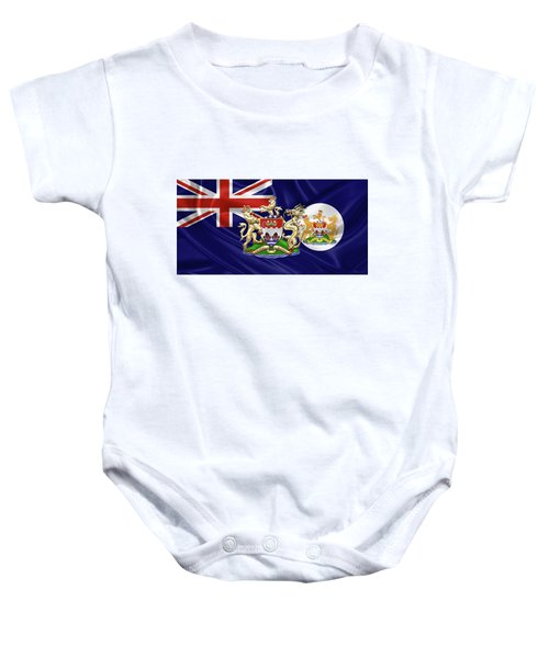 Hong Kong - 1959-1997 Historical Coat Of Arms Over British Hong Kong Flag  Baby Onesie by Serge Averbukh