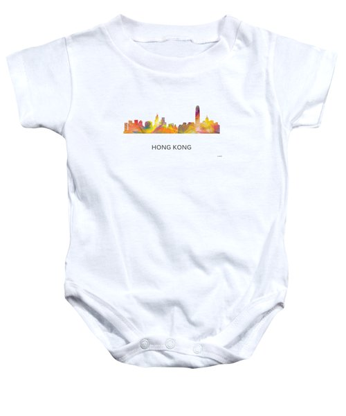 Hong Kong China Skyline Baby Onesie by Marlene Watson