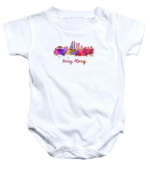 Hong Kong V2 Skyline In Watercolor Baby Onesie
