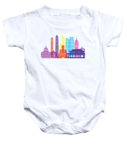 Hong Kong V2 Skyline Pop Baby Onesie by Pablo Romero