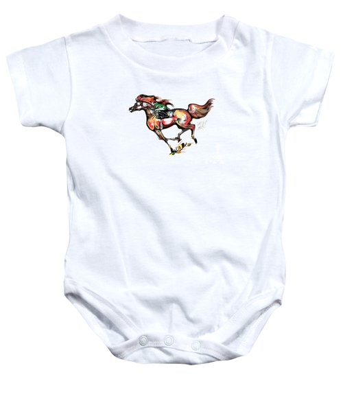 Horse Racing In Fast Colors Baby Onesie