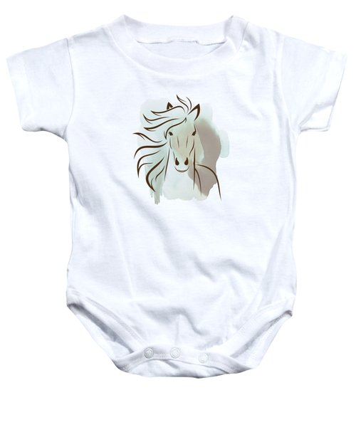 Horse Wall Art - Elegant Bright Pastel Color Animals Baby Onesie by Wall Art Prints