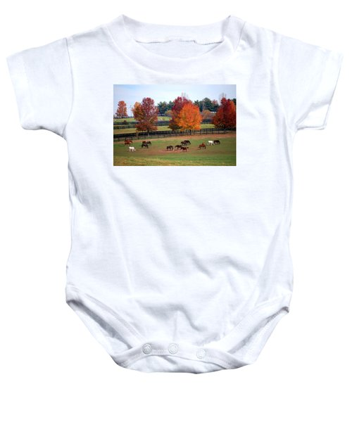 Horses Grazing In The Fall Baby Onesie