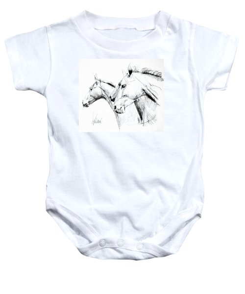 Horses - Ink Drawing Baby Onesie