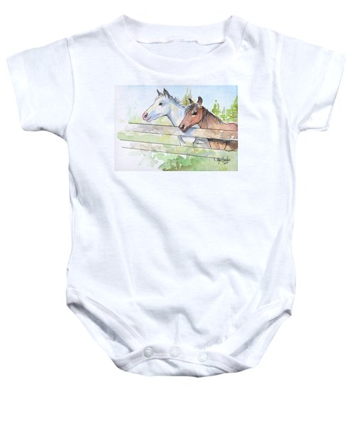 Horses Watercolor Sketch Baby Onesie by Olga Shvartsur