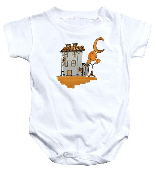 House And Moon Baby Onesie