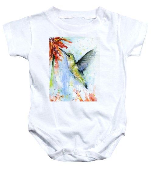 Hummingbird And Red Flower Watercolor Baby Onesie