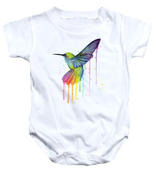 Hummingbird Of Watercolor Rainbow Baby Onesie by Olga Shvartsur